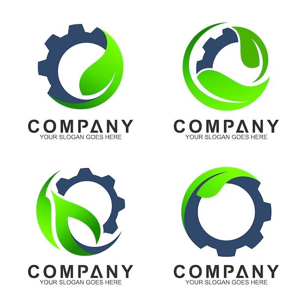 Modèles de logo industriels, engrenage avec logo feuille Vecteur Premium