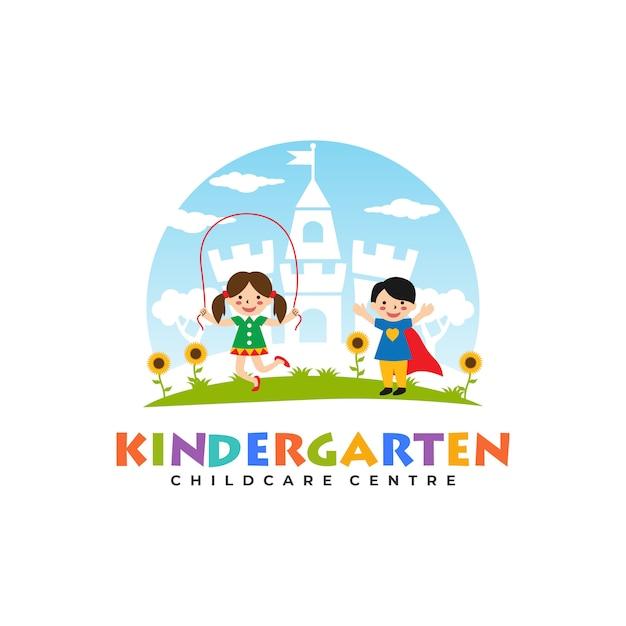 Modèles de logo de jardin d'enfants Vecteur Premium