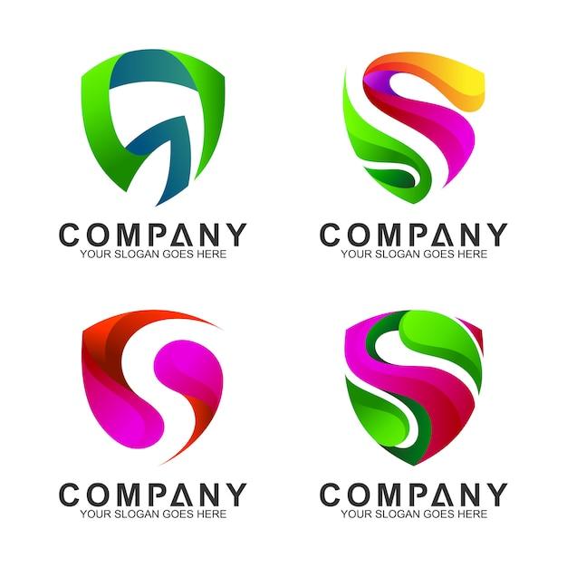 Modèles de logo moderne bouclier s Vecteur Premium
