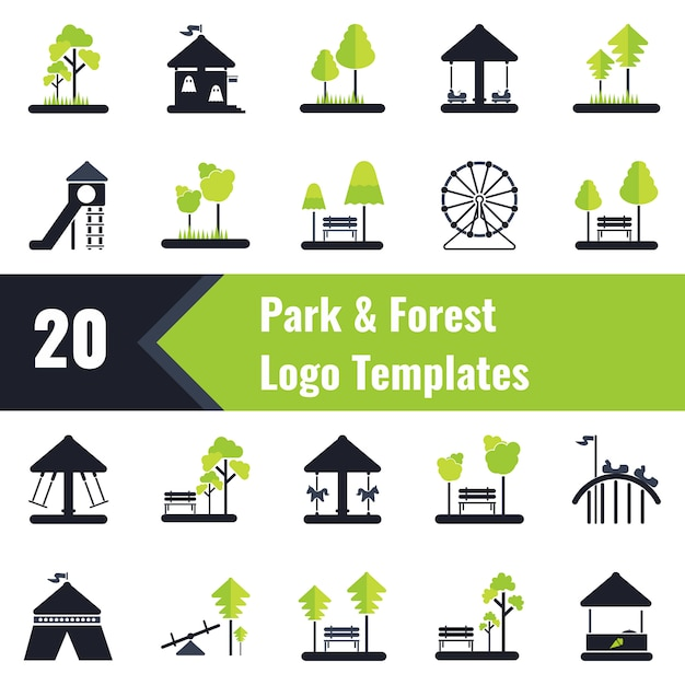 Modèles de logo park and forest Vecteur Premium