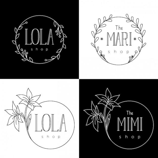 Modèles de logo pour les magasins de fleurs et les boutiques de femmes Vecteur Premium