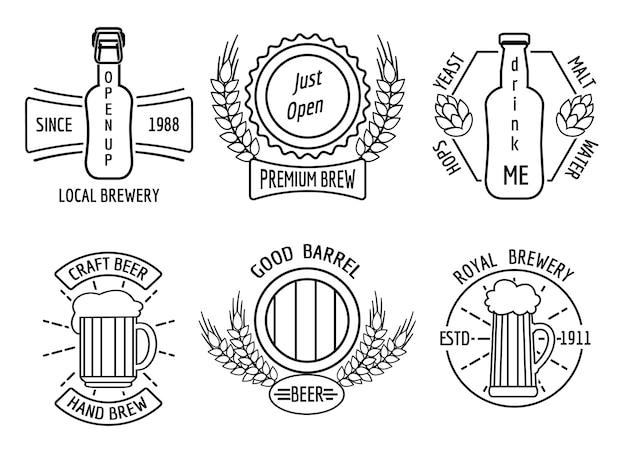 Modèles De Logo Pour La Maison De La Bière Et La Brasserie Artisanale Dans Un Style Linéaire Vecteur gratuit