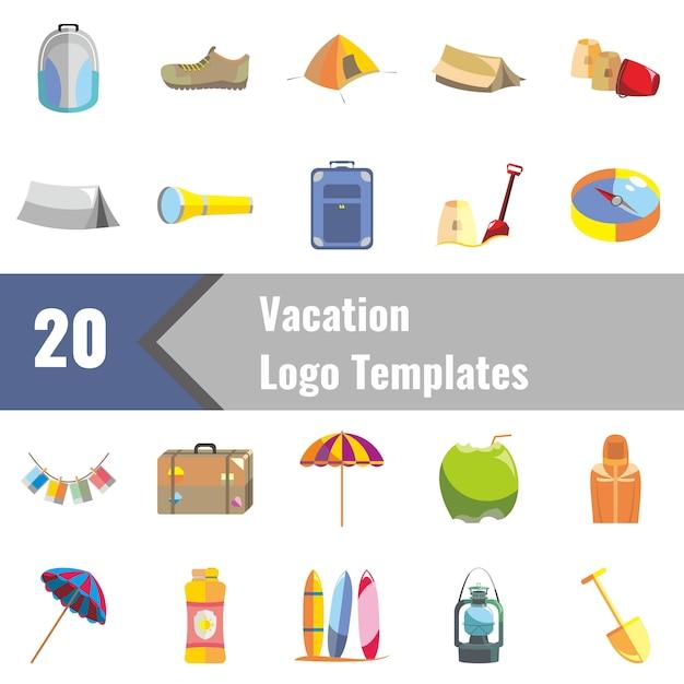 Modèles de logo de vacances Vecteur Premium