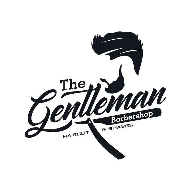 Modèles de logo vintage barbershop Vecteur Premium