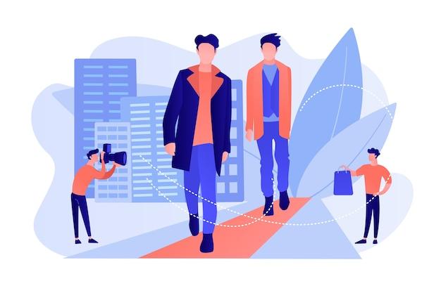 Les Modèles Masculins De Défilé Affichent Des Vêtements Lors D'un Défilé De Mode Et D'un événement Pour Les Médias. Mode Masculine, Vêtements De Style Homme, Concept De Modèles De Vêtements Pour Hommes. Illustration Isolée De Bleu Corail Rose Vecteur gratuit