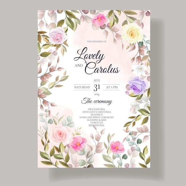 Modèles De Modèles De Cartes D'invitation De Fleurs De Belles Roses Vecteur gratuit