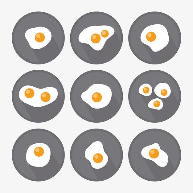 Modèles d'œufs frits collection Vecteur gratuit