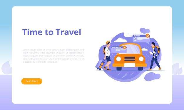 Modèles de page de destination pour le voyage d'affaires Vecteur Premium