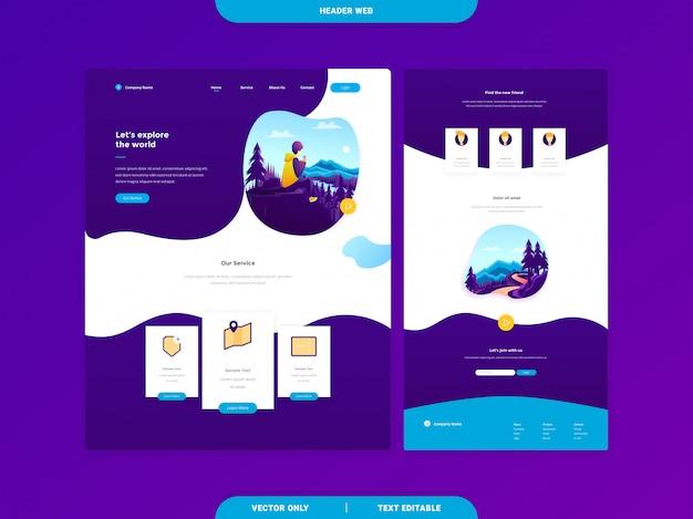Modèles de page de renvoi web d'en-tête Vecteur Premium
