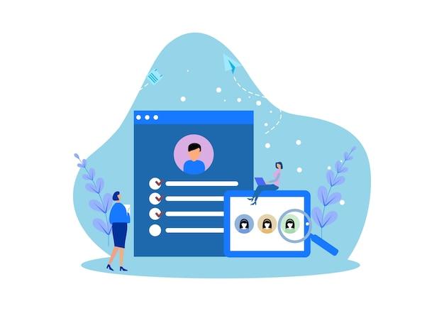 Modèles de pages web de conception plate de travail de recrutement en ligne Vecteur Premium