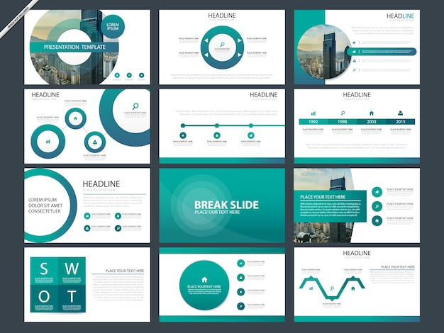 Modèles de présentation abstraits verts Vecteur Premium