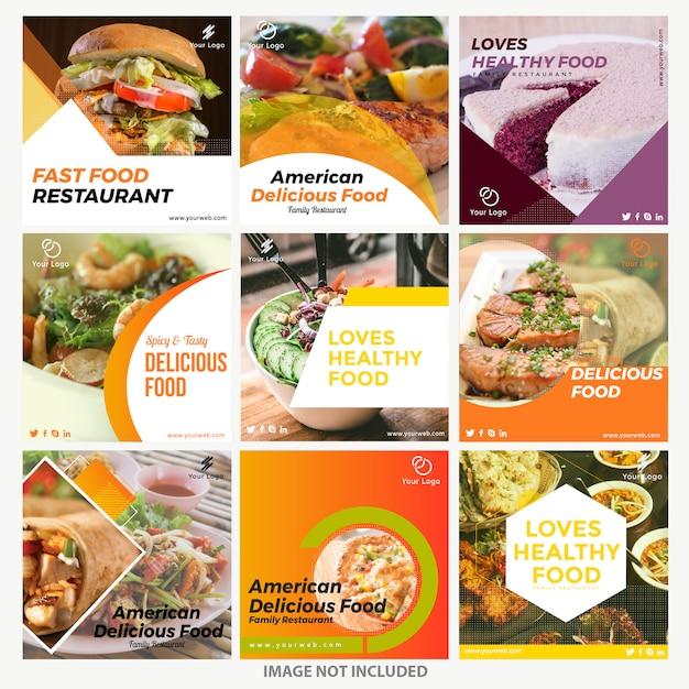 Modèles de publication instagram alimentaire Vecteur Premium