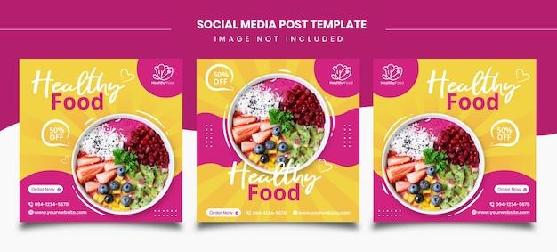 Modèles De Publication Sur Les Réseaux Sociaux Sur Les Aliments Sains Vecteur Premium