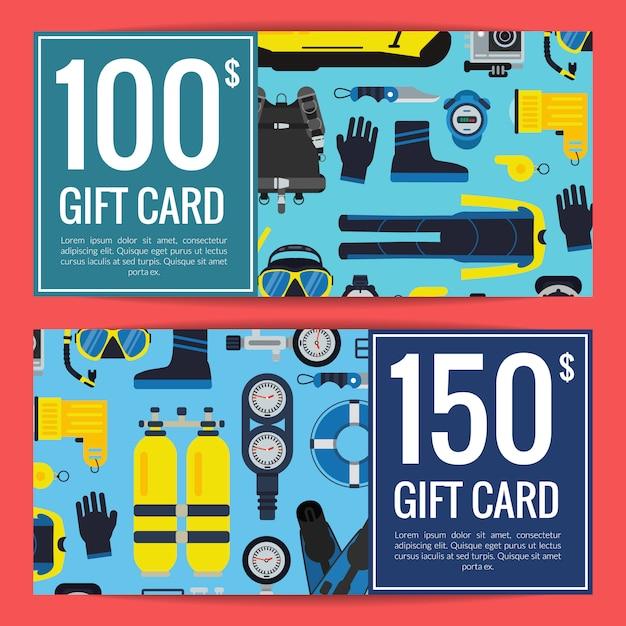 Modèles de rabais ou de cartes-cadeaux pour équipement de plongée sous-marine Vecteur Premium