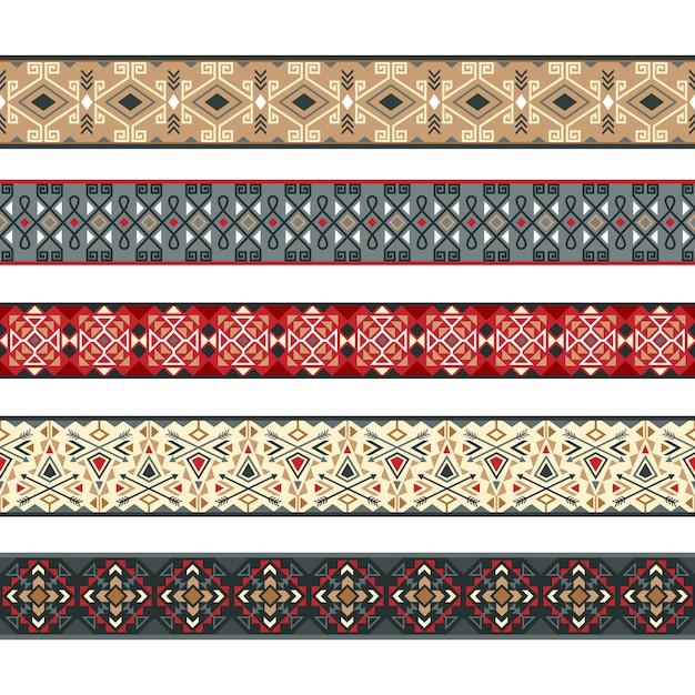 Modèles de ruban natif. rubans d'amérindiennes, frontières de la nativité rayures tribales vector illustration Vecteur Premium
