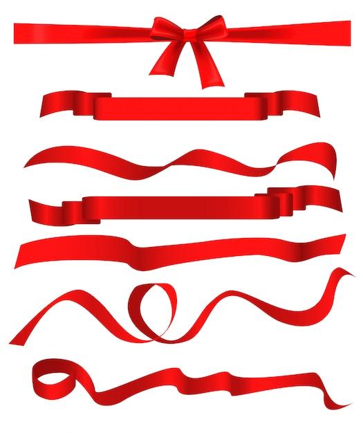 Modèles de ruban rouge mis isolé sur fond blanc. Vecteur Premium