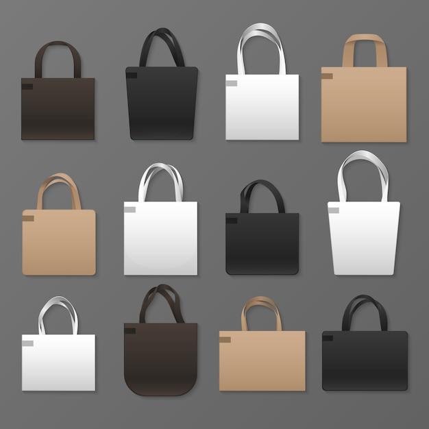 Modèles de sac shopping en toile vierge blanche, noire et marron. maquette de sacs à main. sac à bandoulière en coton avec tissu Vecteur Premium