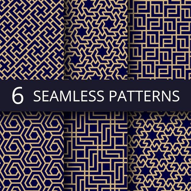 Modèles sans couture de la culture arabe, or décoration asiatique répéter milieux Vecteur Premium