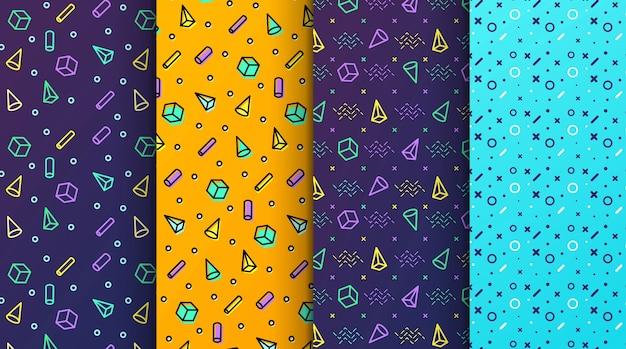 Modèles sans couture memphis colorés disponibles dans le panneau nuancier Vecteur Premium