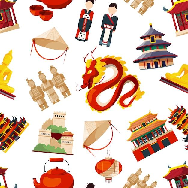 Modèles sans soudure avec des éléments de la culture chinoise traditionnelle. vecteur d'asie chinois traditionnel, dragon et illustration du bâtiment Vecteur Premium