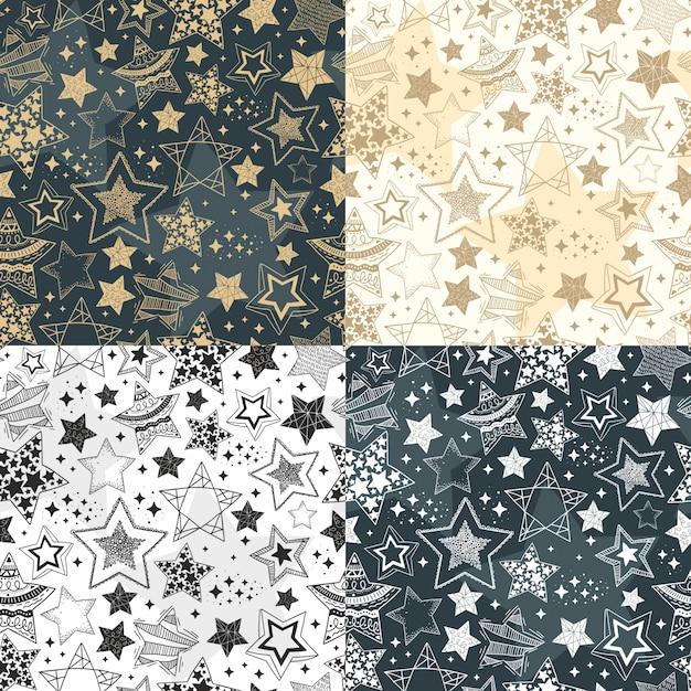 Modèles sans soudure d'étoiles dessinées à la main. fond de ciel Vecteur Premium