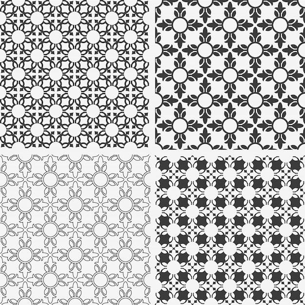 Modèles Sans Soudure Floraux Abstraits Monochromes Vecteur Premium