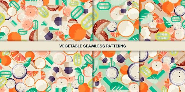 Modèles sans soudure de légumes Vecteur Premium