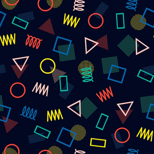 Modèles sans soudure de memphis. textures abstraites enchevêtrement. Vecteur Premium
