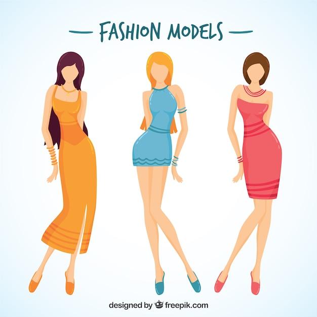 Modèles de style avec de longues jambes Vecteur gratuit