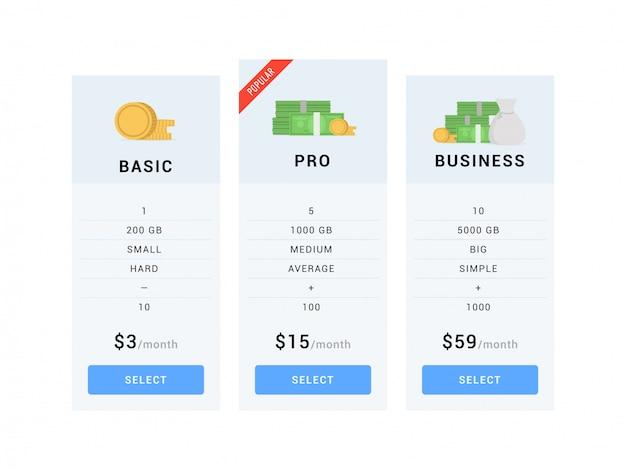 Modèles de table de tarification Vecteur Premium