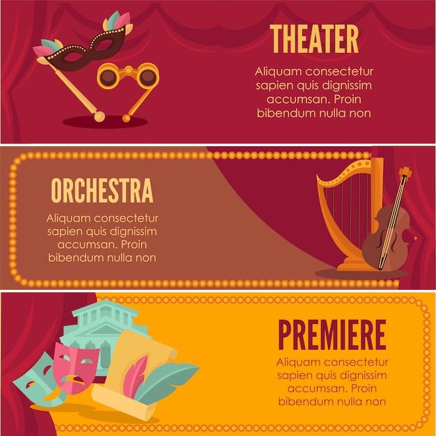 Modèles de vecteur de bannières premiere théâtre ou orchestre. Vecteur Premium