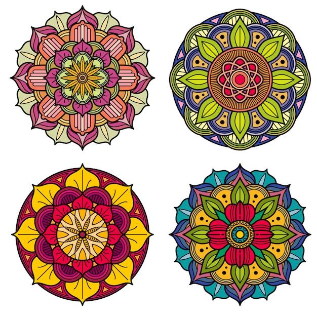 Modèles de vecteur floral indien et chinois de mandalas de couleur Vecteur Premium