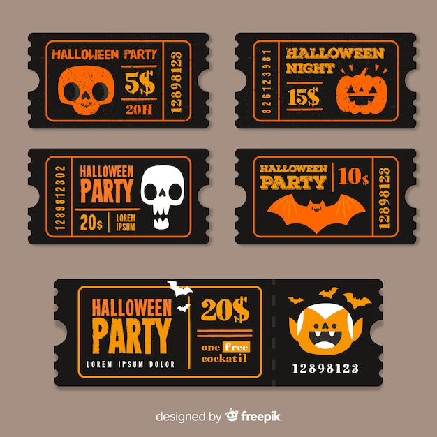 Modèles vintage de billets d'halloween Vecteur gratuit