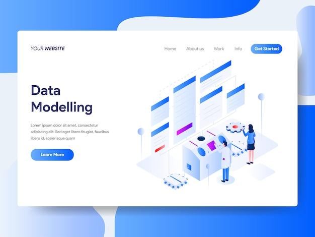 Modélisation de données isométrique pour la page web Vecteur Premium