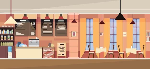 Modern cafe interior vide Vecteur Premium