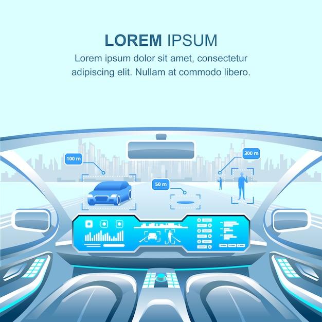 Modern car driverless voir Vecteur Premium