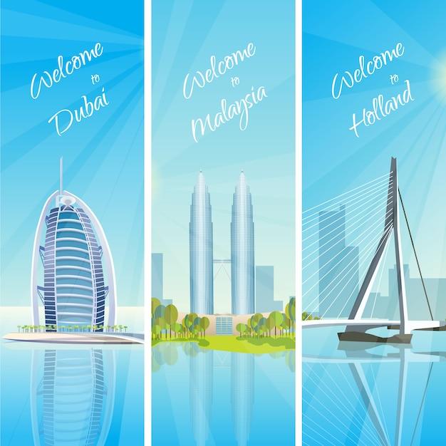 .modern cityscapes 3 banners set Vecteur gratuit