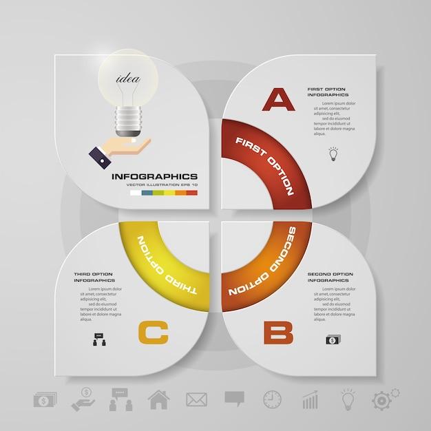 Moderne 3 options présentation affaires infographie Vecteur Premium