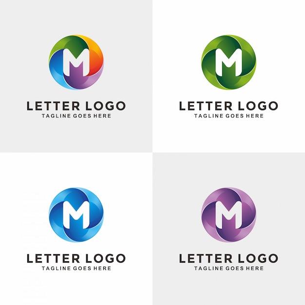 Moderne 3d cercle lettre m création de logo Vecteur Premium