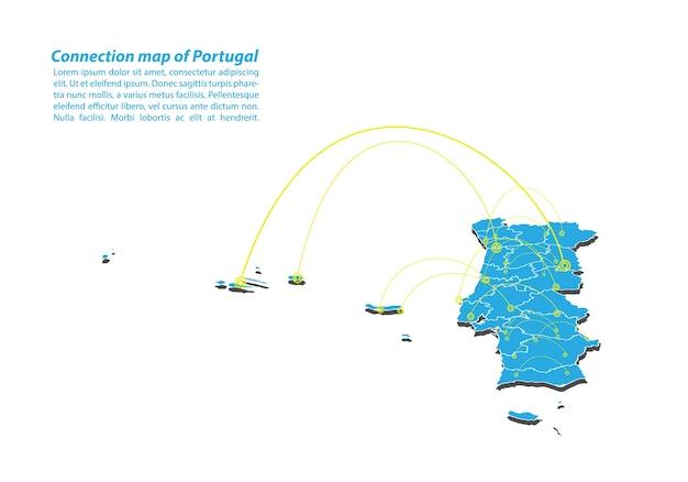 Moderne du portugal conception du réseau de connexions de carte Vecteur Premium