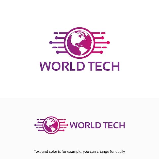 Moderne World Tech Logo Conçoit Le Modèle Avec Le Symbole De La Carte Vecteur Premium