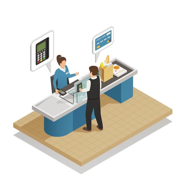 Modes de paiement cash isometric composition Vecteur gratuit