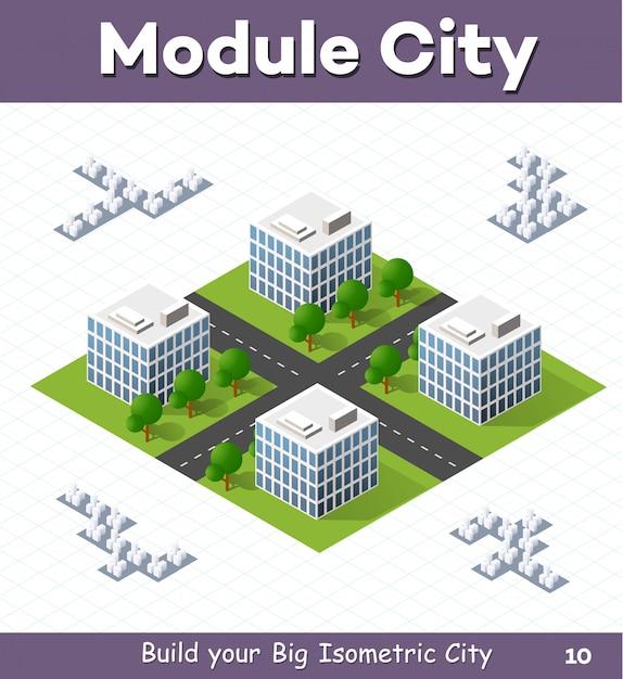 Module urbain pour la construction et la conception d'une grande ville isométrique Vecteur Premium