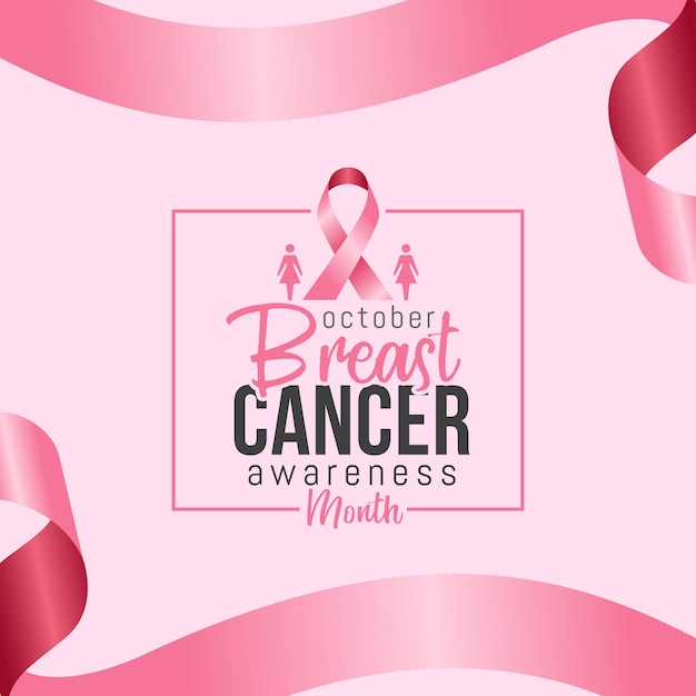 Mois de sensibilisation au cancer du sein en octobre avec un ruban rose réaliste Vecteur Premium