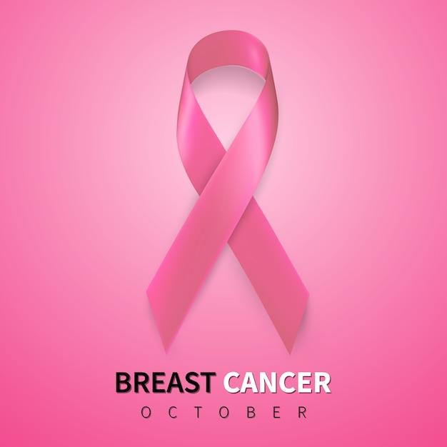 Mois De Sensibilisation Au Cancer Du Sein En Octobre. Symbole De Ruban Rose Réaliste. Vecteur Premium