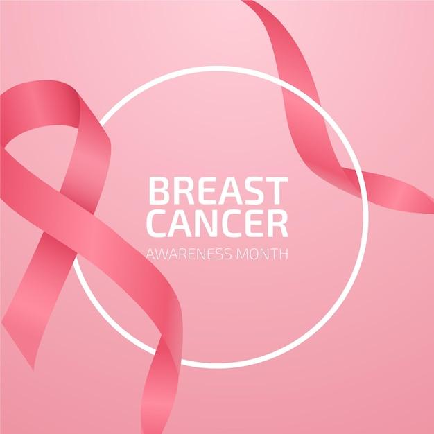 Mois De Sensibilisation Au Cancer Du Sein Avec Ruban Rose Réaliste Vecteur Premium