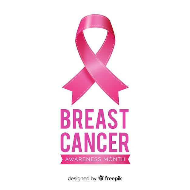 Mois de sensibilisation au cancer du sein avec ruban rose Vecteur gratuit