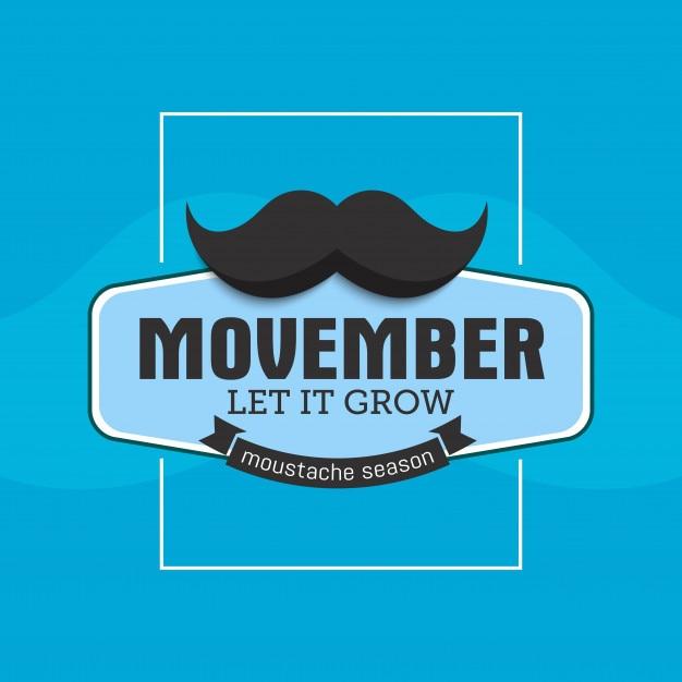 Mois de sensibilisation au cancer de la prostate movember. moustaches et fond de ruban bleu Vecteur Premium