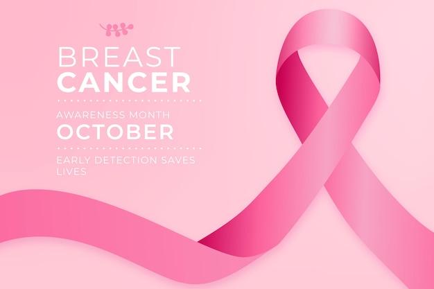 Mois De Sensibilisation Au Cancer Avec Ruban Rose Vecteur Premium