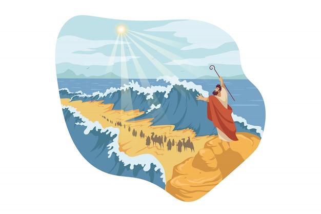 Moïse, Séparation De La Mer Rouge, Concept Biblique Vecteur Premium